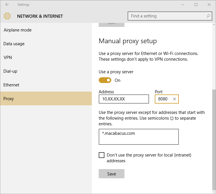 Edge Proxy Settings