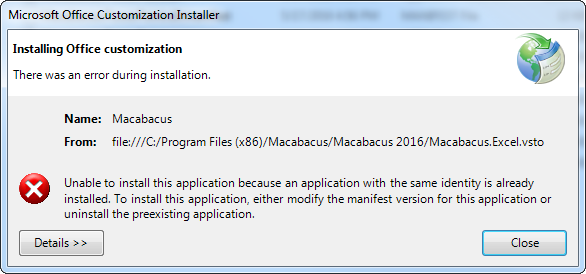 VSTO installation error
